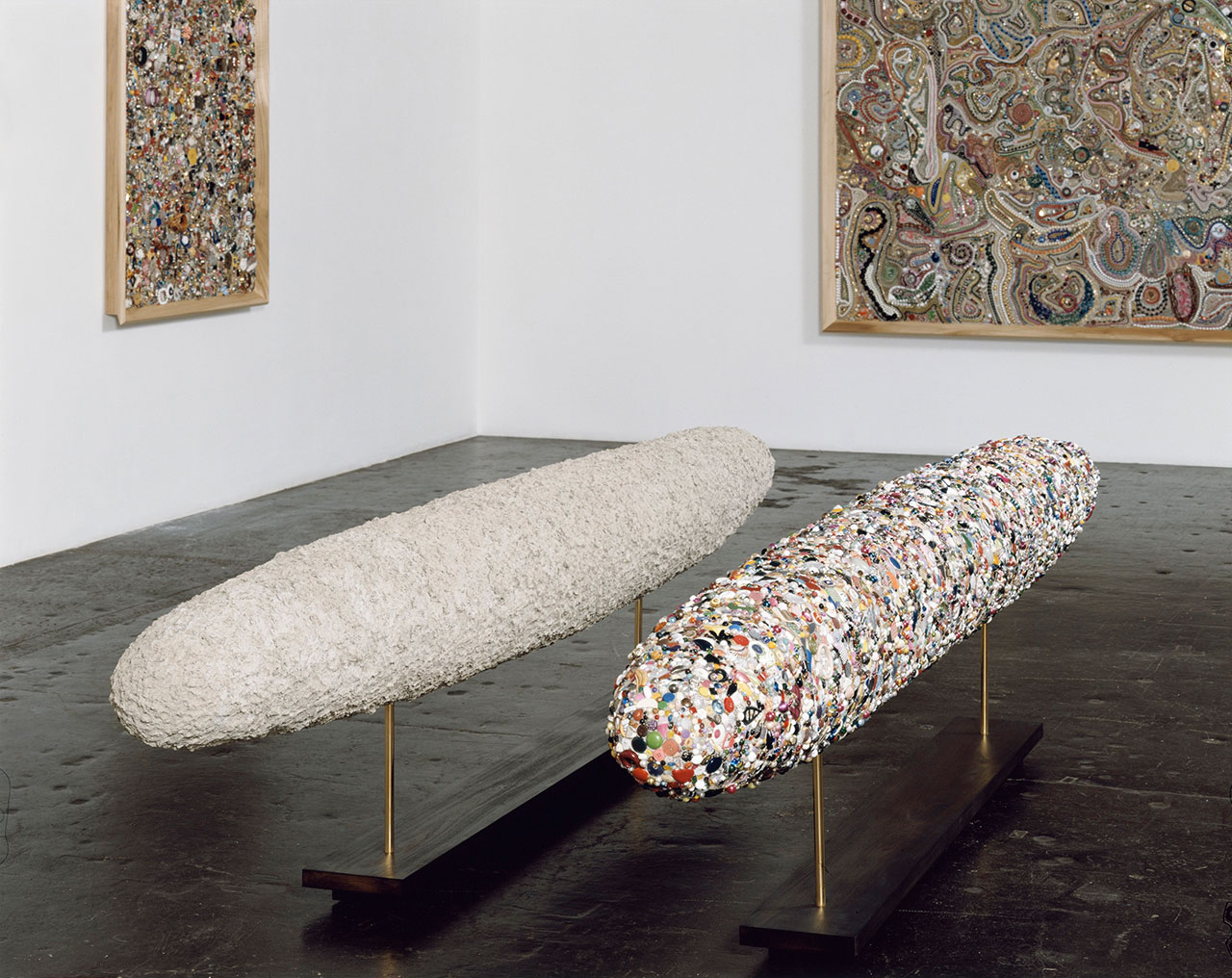 Mike Kelley, Balanced by Mass and Worth, 2001. Plastic, foam, epoxy, painted wood, miscellaneous beads and buttons. 68.6 x 340.4 x 38.1 cm / 27 x 134 x 15 in. Art © Mike Kelley Foundation for the Arts. All Rights Reserved / Licensed by VAGA, New York, NY. Collection of Margaret and Daniel S. Loeb. Courtesy the Foundation and Hauser & Wirth. Photo by Nic Tenwiggenhorn, Düsseldorf.