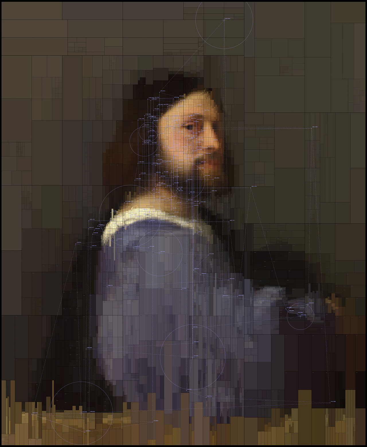 A Man with a Quilted Sleeve,from Portraits series by Dimitris Ladopoulos (Original painting by Titian, 1510).