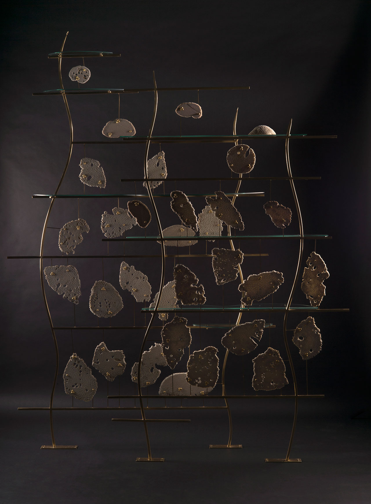 Coral I Room Divider by Zuleika Penniman, 2016. Reclaimed coral, gold, steel. 200 x 30 x 225 cm. Photo courtesy of the designer and Tashkeel.