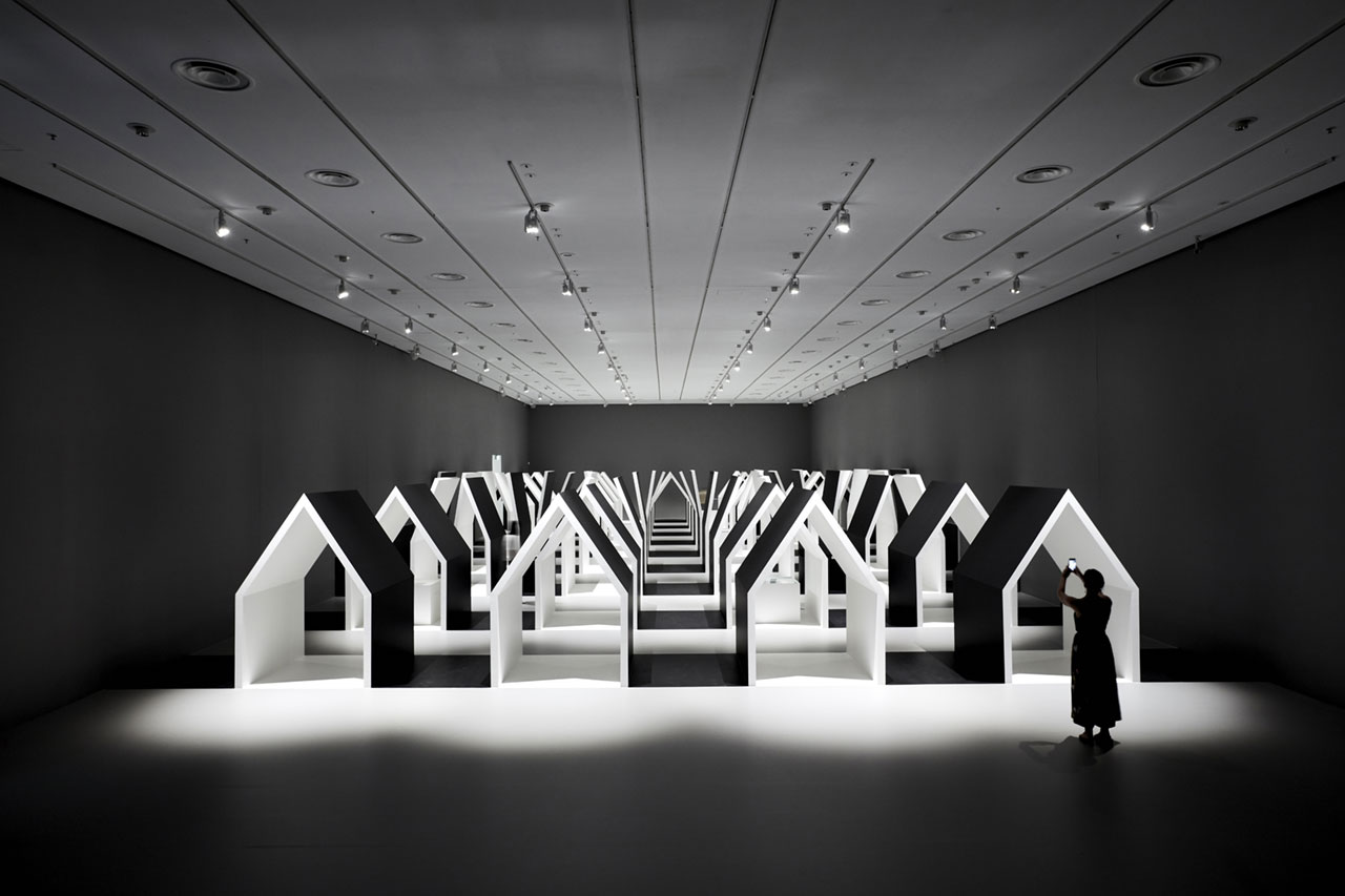 Installation view of Escher x nendo | Between Two Worlds, exhibition space at NGV International running from 2 December 2018 – 7 April 2019. Photo by Sean Fennessy.