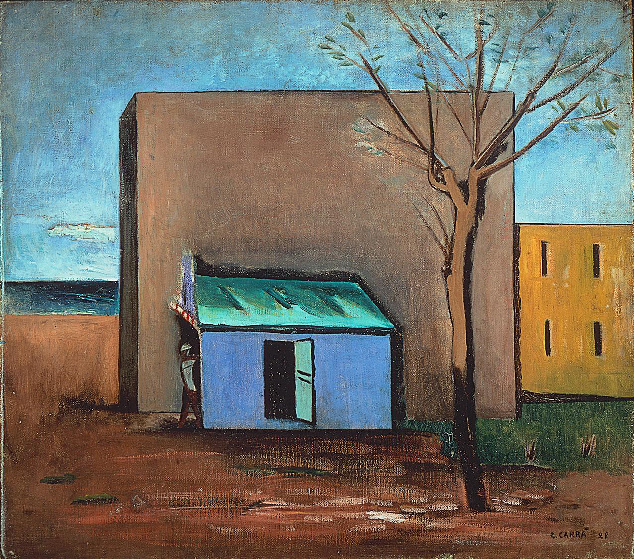 Carlo Carrà, Il bersaglio, 1928, oil on canvas. 75,0 x 85,0 cm. Photographic Studio Luca Carrà © Carlo Carrà by SIAE 2018.