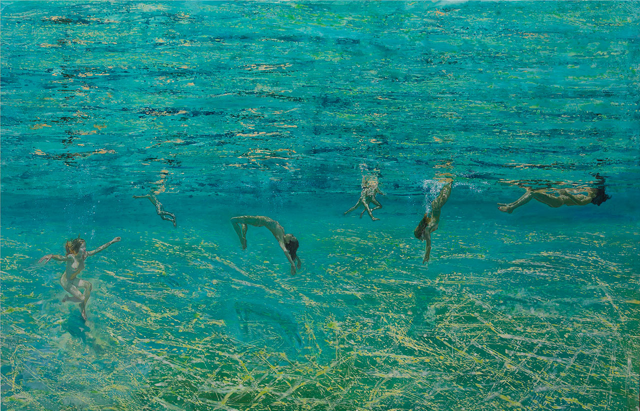 Maria Filopoulou, Underwater swimmers II, 2011-2012. Oil on canvas, 112 x 200cm.