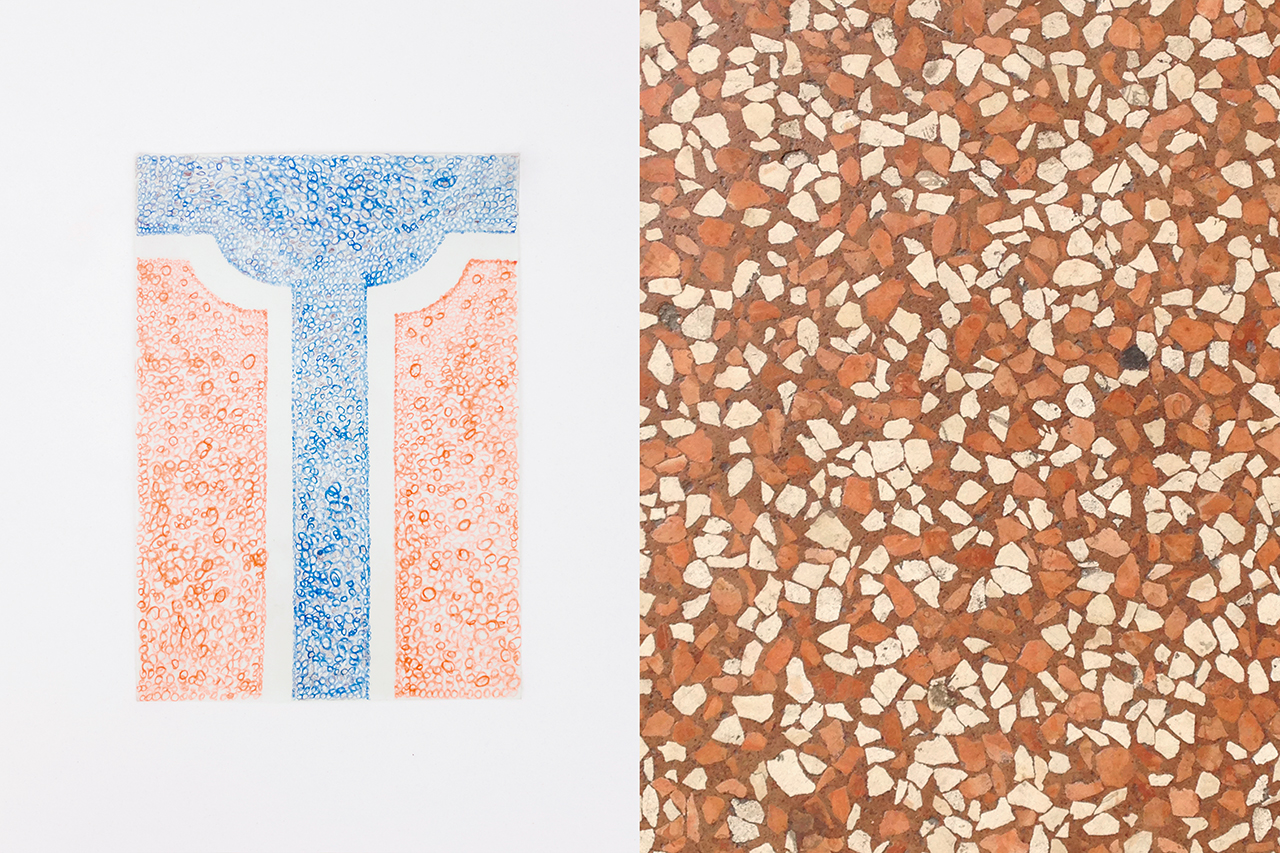 T _ by Christian Baraldi Terrazzo (Paper, colored pencils) Photo by Francesca Iovene.