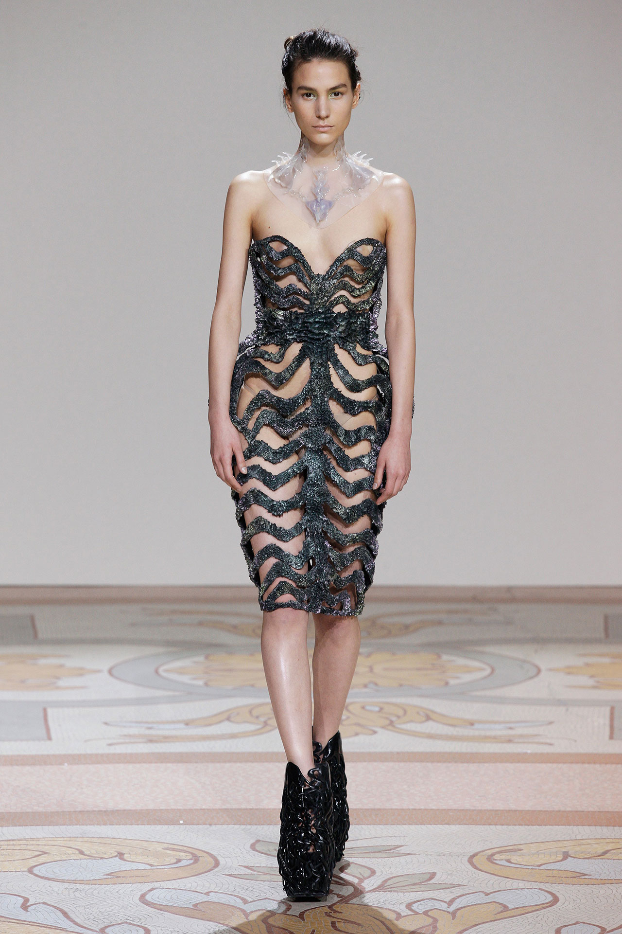 Designed by Iris van Herpen, with Jólan van der Wiel, Dress, from Wilderness Embodied Couture collection, 2013, Resin, iron filings. Courtesy of Iris van Herpen.