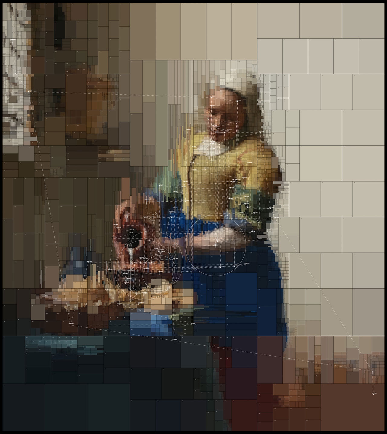 The Milkmaid,from Portraits series by Dimitris Ladopoulos (Original painting by Johannes Vermeer,1657–1658).