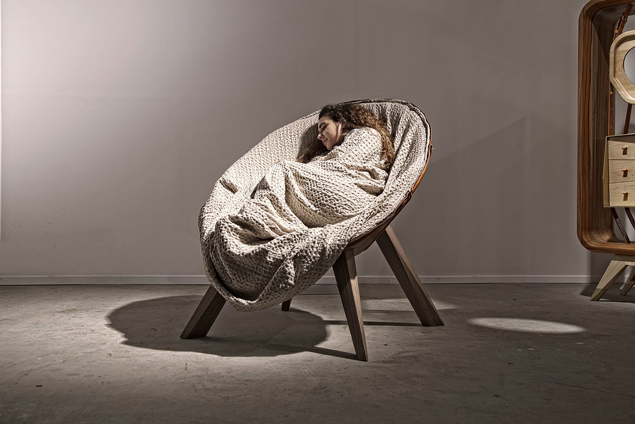 The Swaddle chair by Fadi Sarieddine Design Studio has a blanket cocoon attached to it. Photo courtesy Design Days Dubai.