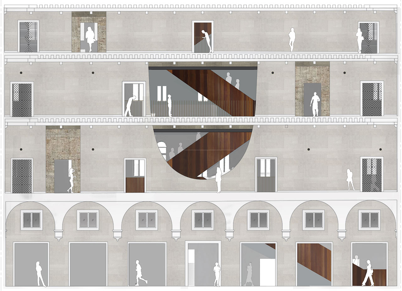 Il Fondaco dei Tedeschi, longitudinal section showing new openings and cuts on the Gallerias' walls. Image courtesy OMA.