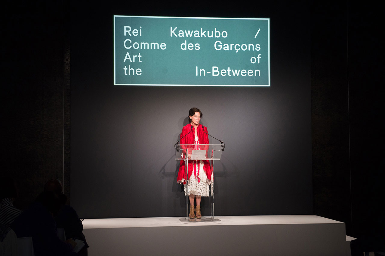 Carrie Rebora Barratt, Deputy Director of The Metropolitan Museum of Art, speaks at The Met's Rei Kawakubo/Comme des Garçons: Art of the In-Between advance press event. Courtesy of The Metropolitan Museum of Art/BFA.com.