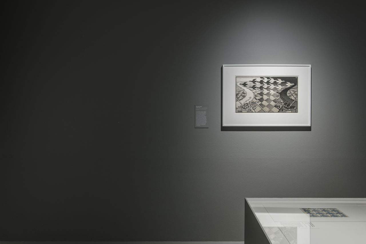 Installation view of M.C. Escher, Day and night, at Escher x nendo | Between Two Worlds, on display at NGV International from 2 December 2018 – 7 April 2019 © The M. C. Escher Company, the Netherlands. All rights reserved. Photo by Eugene Hyland.