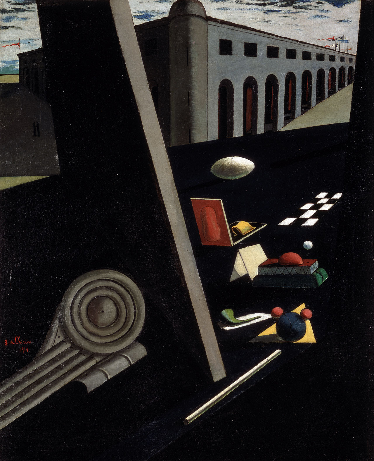 Giorgio De Chirico, Le caserme dei marinai, 1914, oil on canvas, 81,3 x 64,8 cm. Courtesy Norton Museum of Art, West Palm Beach. Photo: Norton Museum of Art, West Palm Beach, Florida, Bequest of R.H. Norton, 53.30 © Giorgio De Chirico by SIAE 2018.