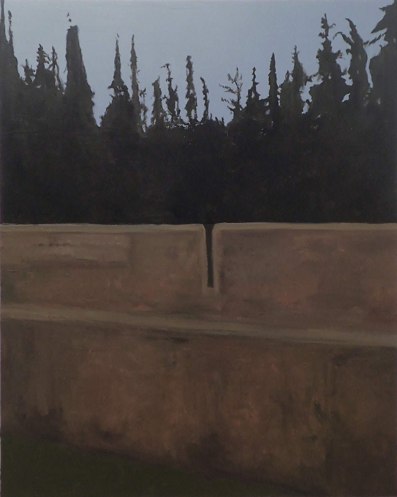 Ιlias Papailiakis, Τhe Firing Range. The back side, 2016, oil on canvas, 150 x 120 cm. Courtesy Elika Gallery.