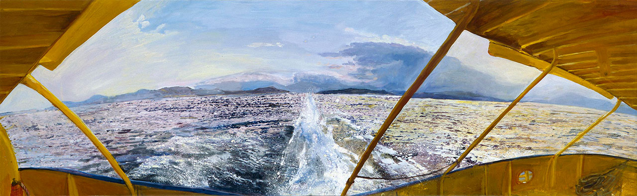 Maria Filopoulou, View from a hydrofoil, 1998. Oil on canvas, 62 x 200cm.