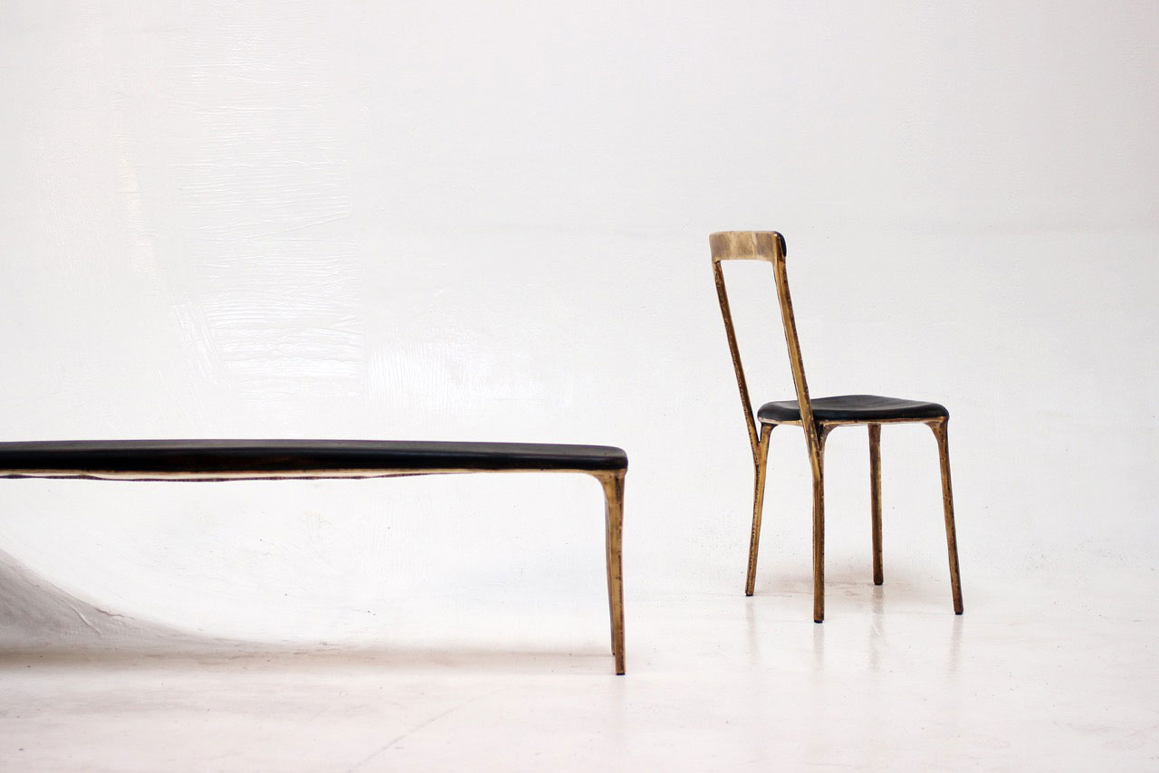 Studio Valentin Loellmann, Brass chair and bench. Photo © Jonas Loellmann.