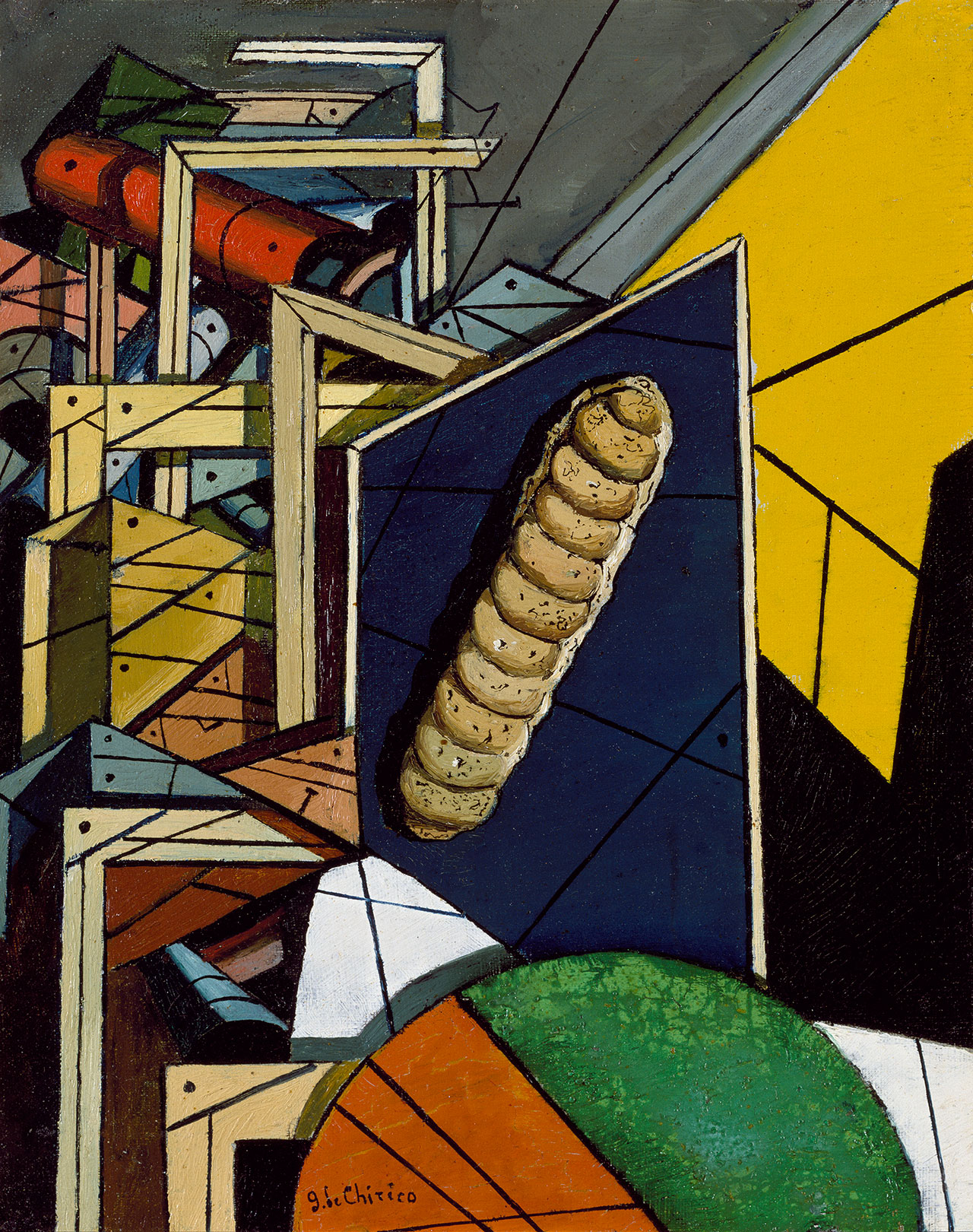 Giorgio De Chirico, La nostalgie de l'ingénieur, 1916, oil on canvas, 33,7 x 24 cm. Chrysler Museum of Art, Norfolk © Giorgio De Chirico by SIAE 2018.