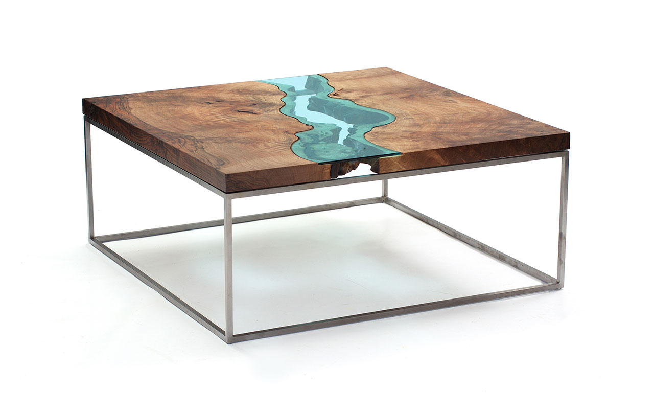 "Square Walnut River Coffee Table, natural, modern coffee table, claro walnut burl, stainless steel base. One of a kind, 33"" x 33"" x 16"". Photo © Greg Klassen."