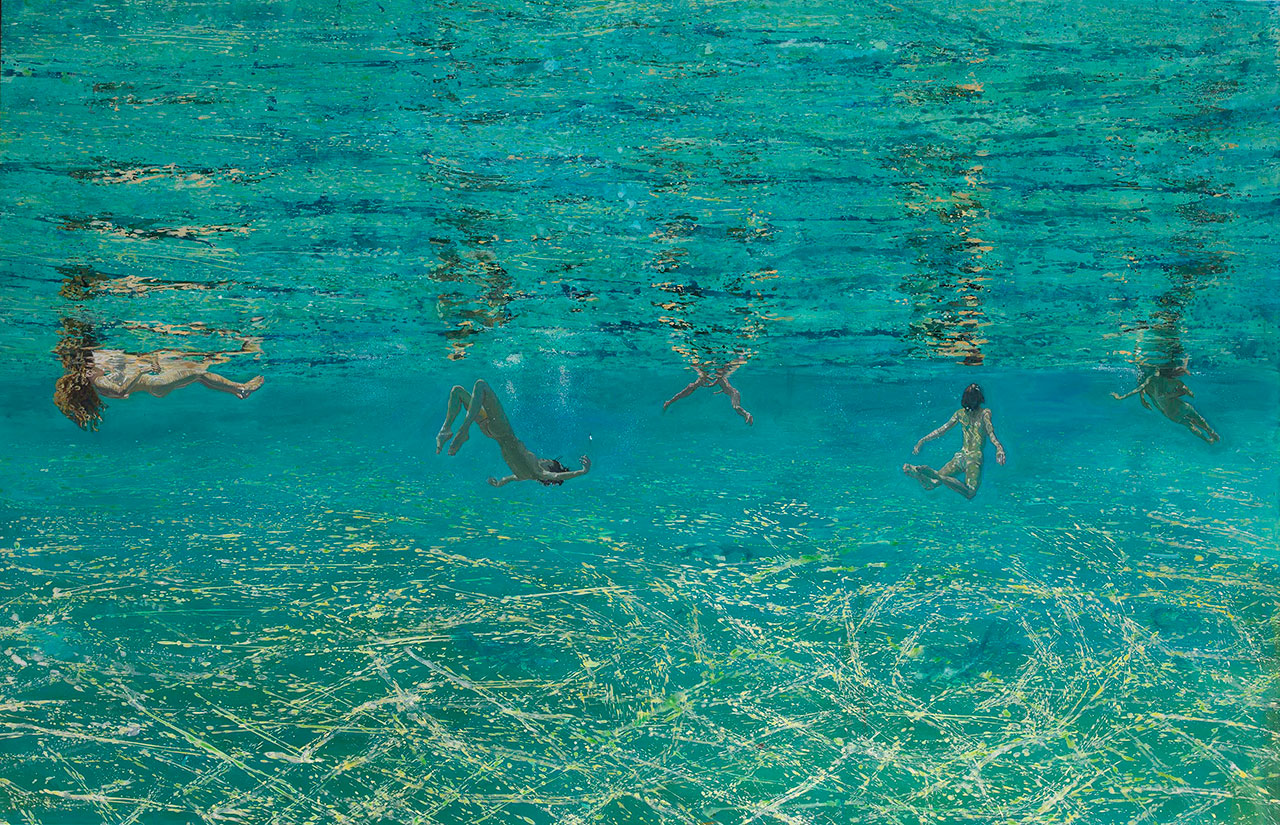 Maria Filopoulou, Underwater swimmers I, 2011-2012. Oil on canvas, 112 x 200cm.