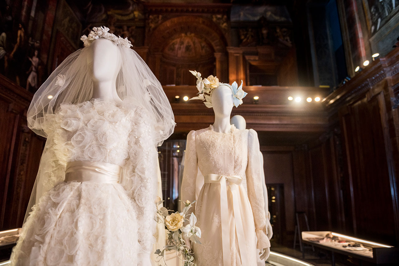Family wedding dresses in the Chapel. Photo courtesy Chatsworth House Trust.
