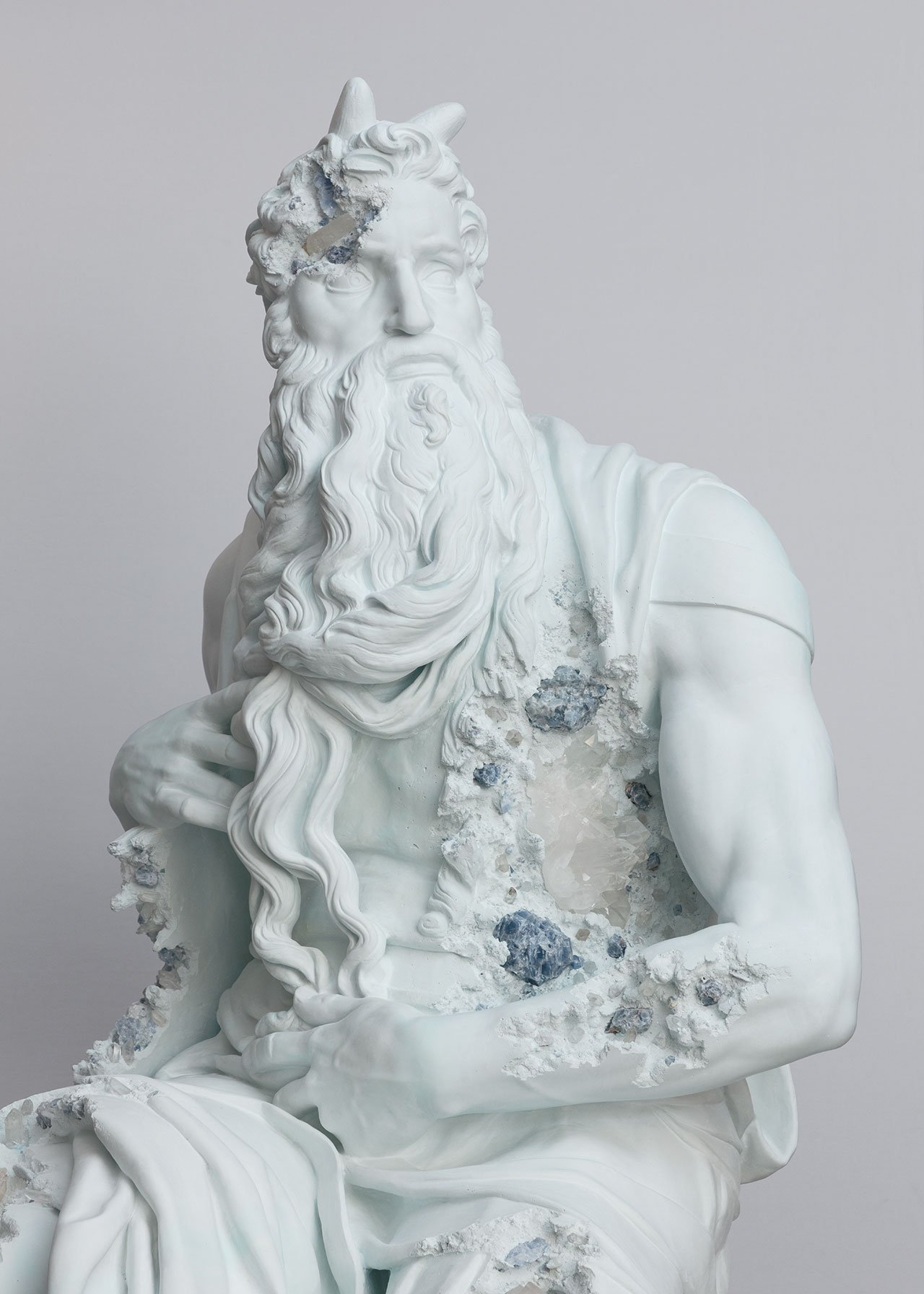 Daniel Arsham, Blue Calcite Eroded Moses, (detail) 2019. Blue calcite, hydrostone. 260 x 119 x 125 cm | 102 3/8 x 46 7/8 x 49 3/16 in. Photo by Claire Dorn. © Courtesy the artist & Perrotin.