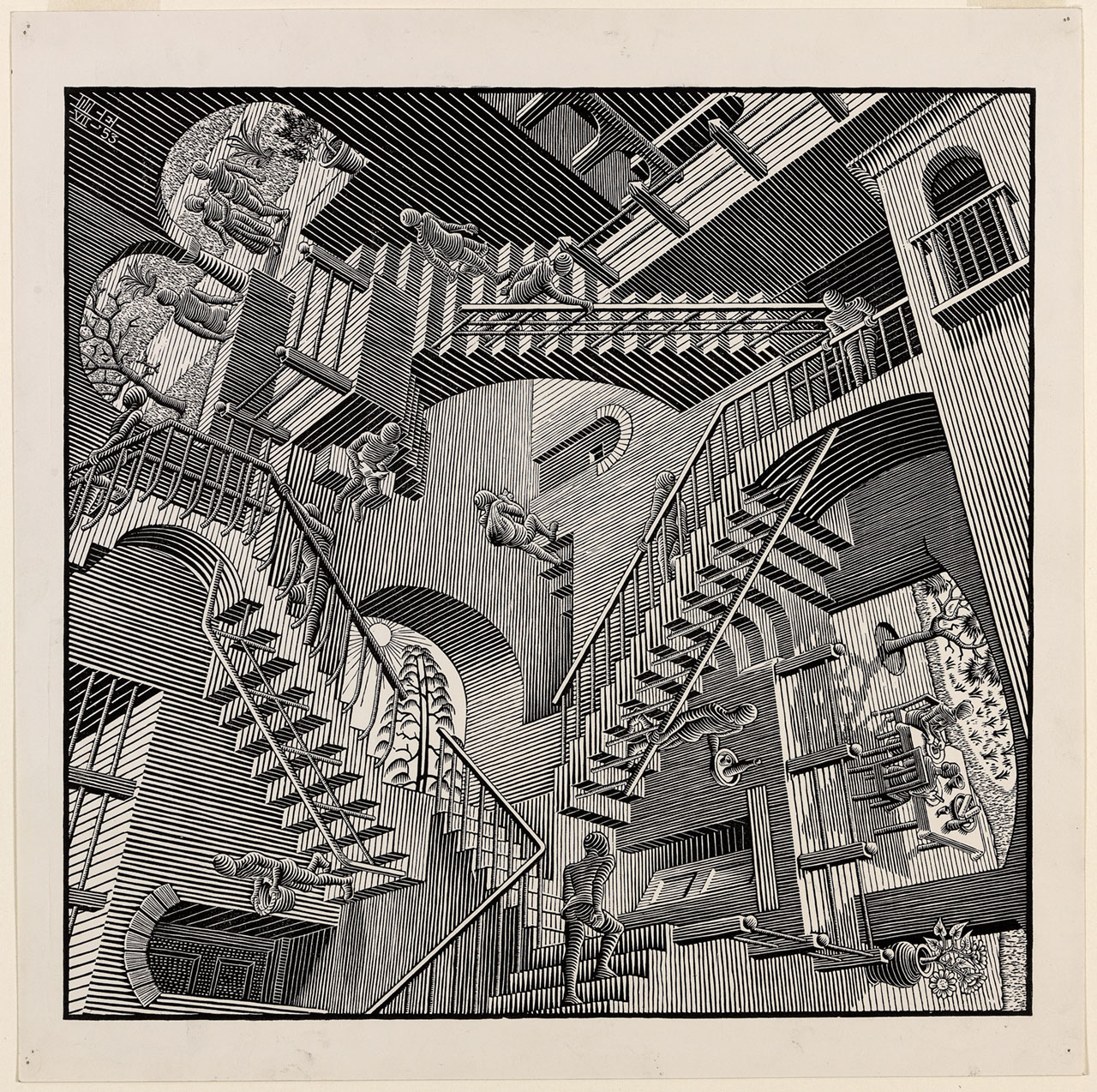 M. C. Escher, Relativity, July 1953, wood engraving. Escher Collection, Gemeentemuseum Den Haag, The Hague, the Netherlands © The M. C. Escher Company, the Netherlands. All rights reserved.