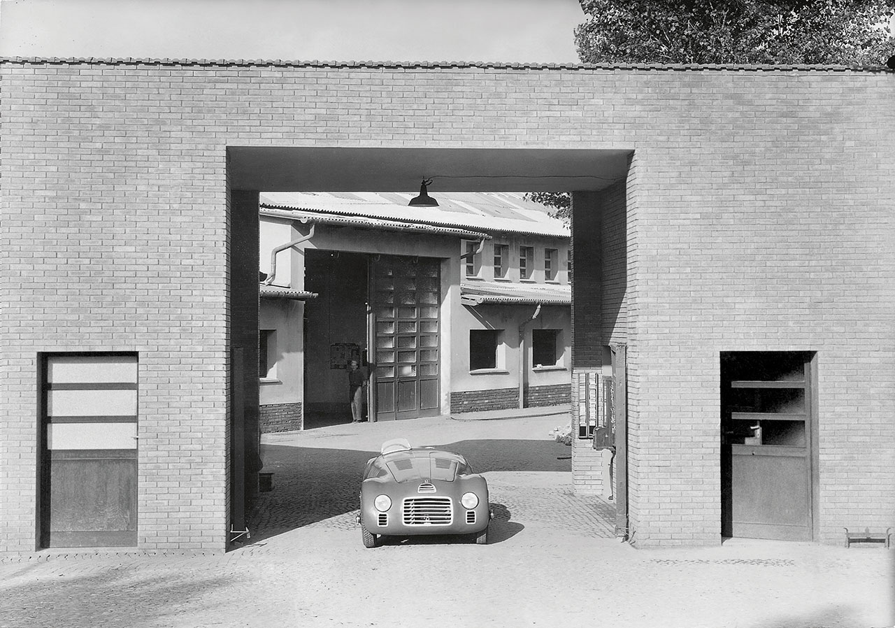 125 S is positioned at the entrance of the Ferrari factory, 1947. Photo courtesy of Ferrari.