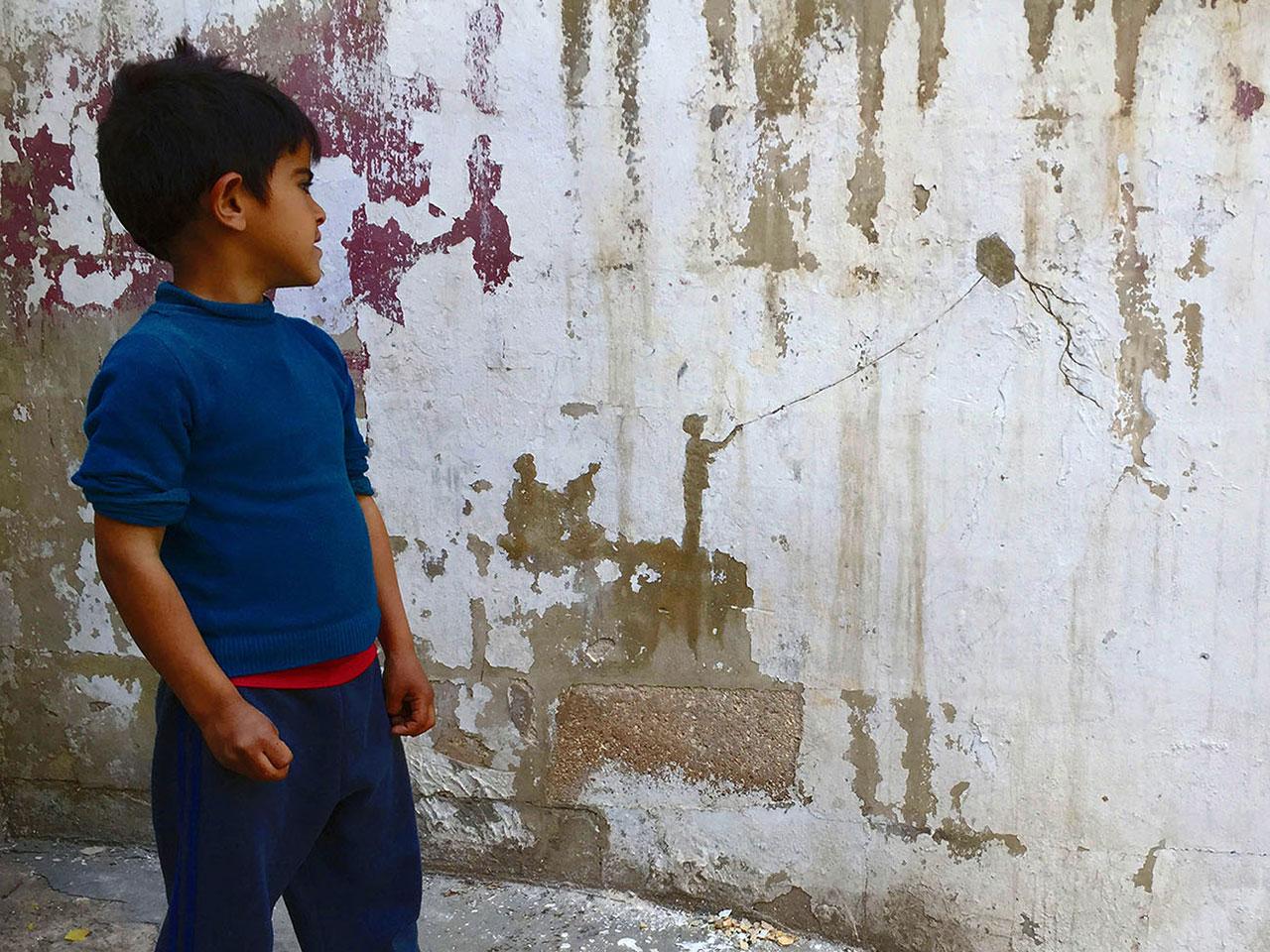 Pejac, Kite,Al-Hussein Palestinian,refugee camp, Amman, Jordan,2016.