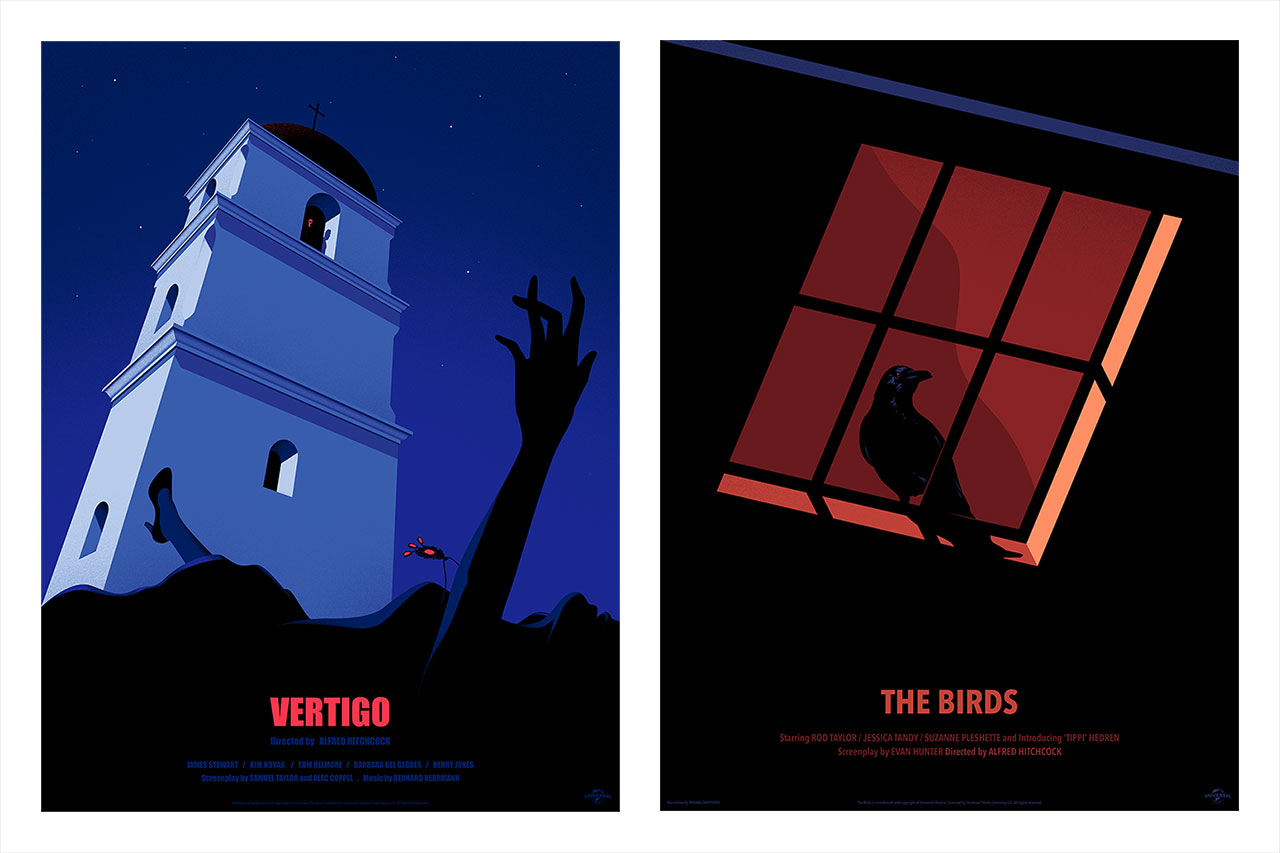 Left: Thomas Danthony, Vertigo poster, Right: Thomas Danthony, The Birds poster. © Thomas Danthony.