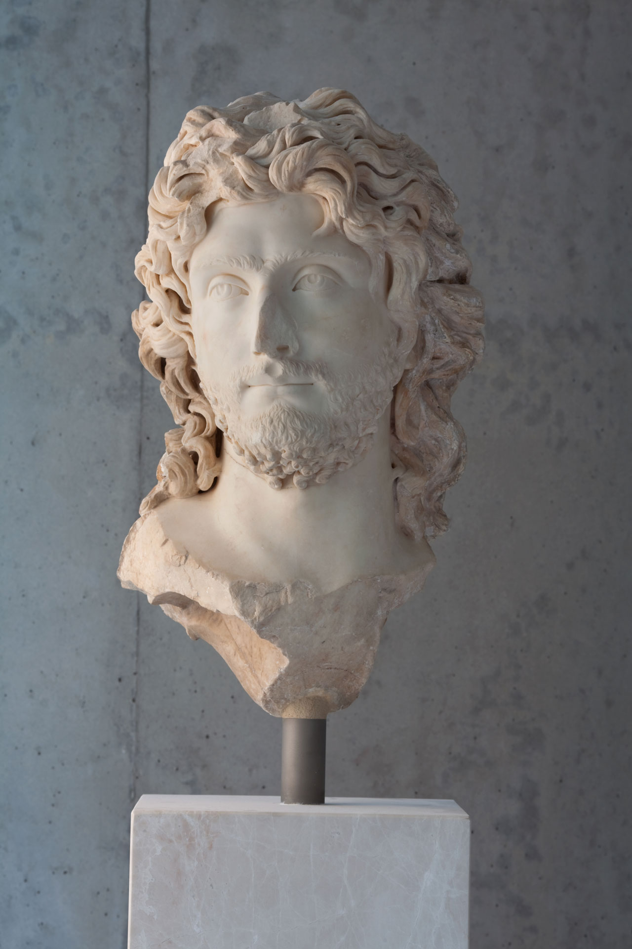 Head of a young barbaric leader. Found inside the Theatre of Dionysus. ca. 2nd c. AD. Photo by Nikos Daniilidis © The Acropolis Museum.