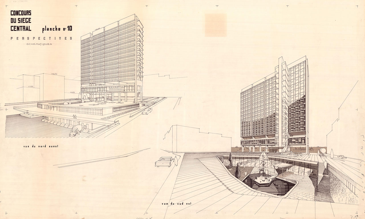 Électricité du Liban Headquarters, by J. Aractingi, J. Nasser, P. Neema and J.N. Conan (CETA), Beirut, Lebanon, 1965-1972. © Arab Center for Architecture, Pierre Neema Collection.