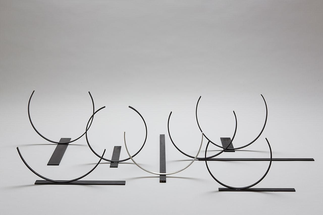 Juliette Bigley, Seven Bowls, Base metal and Sterling Silver, 900x1100x400, 2015. Photo by Odi Caspi, courtesy the designer.
