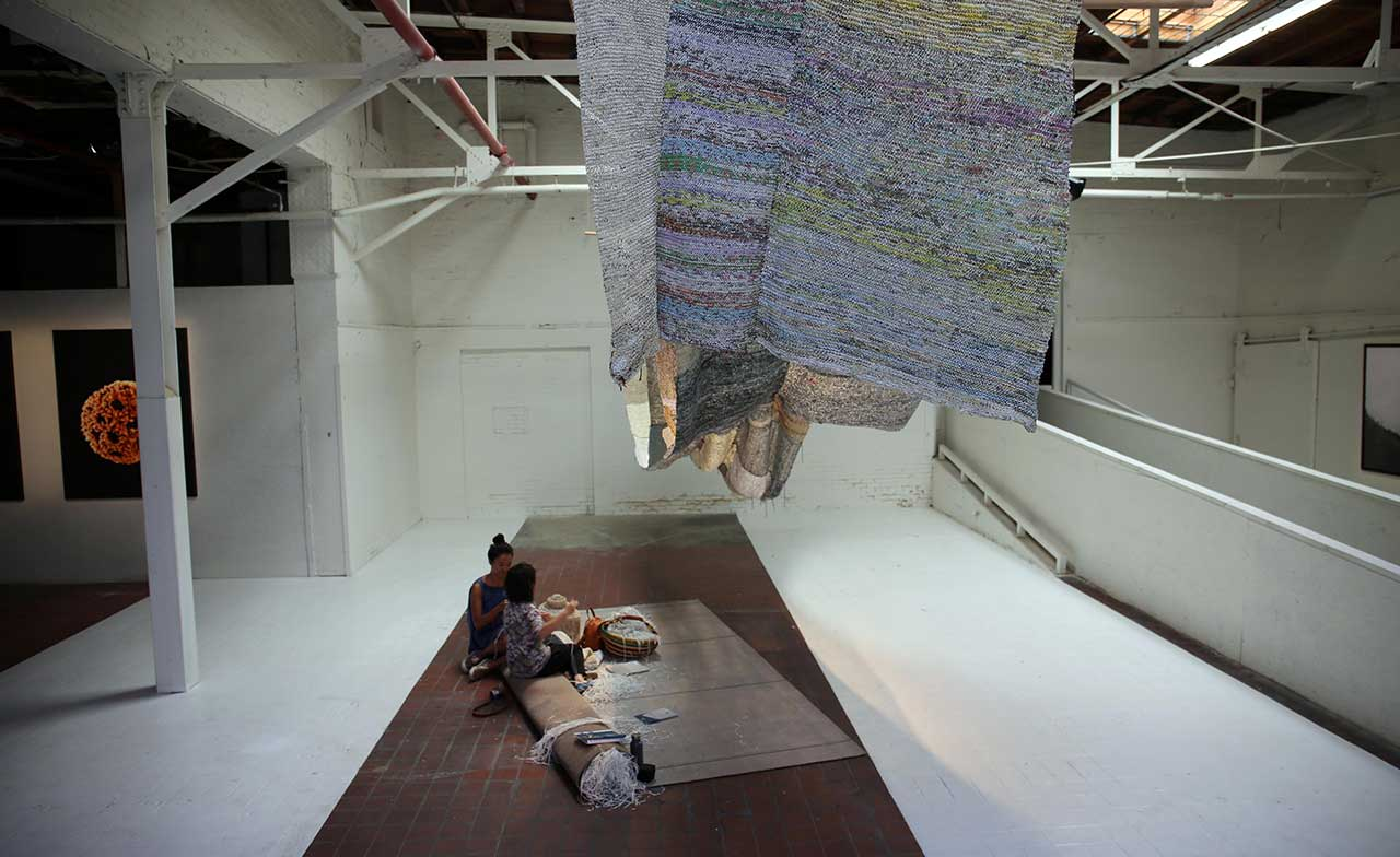 Movana Chen, Knitting Conversations, 2011-ongoing. Paper. Photo by Gloria Yu.