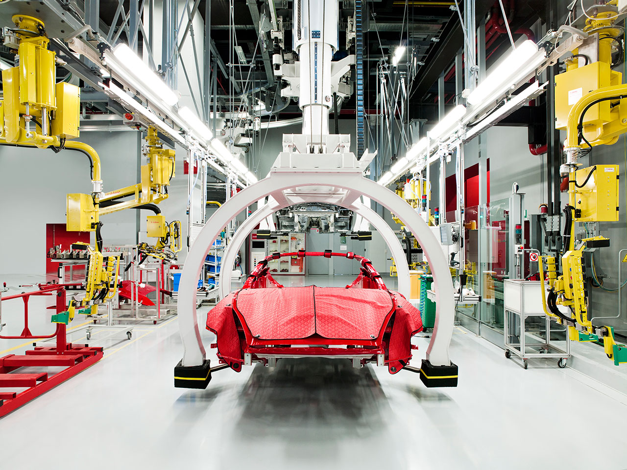 Present Day Manufacturing of the Ferrari California car. Photo courtesy of Ferrari.