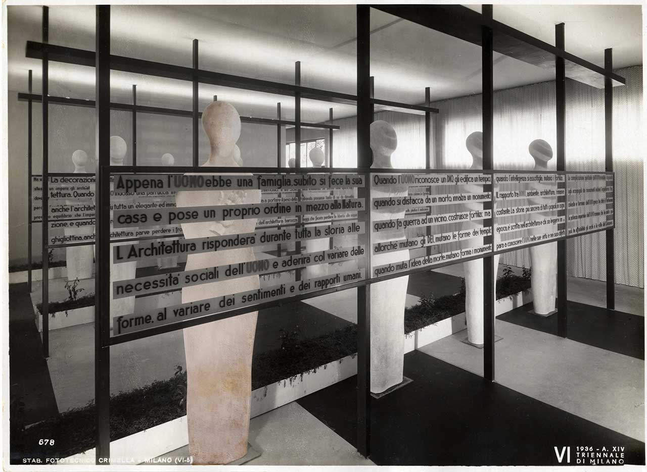"Rendered photographic image for ""Post Zang Tumb Tuuum"" (Fondazione Prada, Milan, 2018). Installation view of VI Triennale di Milano, 1936.Introduction to the housing exhibition in the new Pavilion of the Sempione Park, ""Coerenza"" room, designed by the architecture firm BBPR. Among the exhibited works, Costante uomo (1936) by Fausto Melotti - For the work © Fausto Melotti by SIAE 2018. Photo archive © La Triennale di Milano. Photo Crimella."