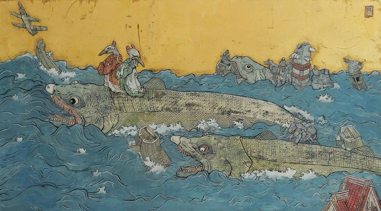 Konstantinos Papamichalopoulos, Fish in the Sea, 2006-2016. Ink, tempera and gold leaf, 45x81,5 cm. Courtesy Skoufa Gallery.