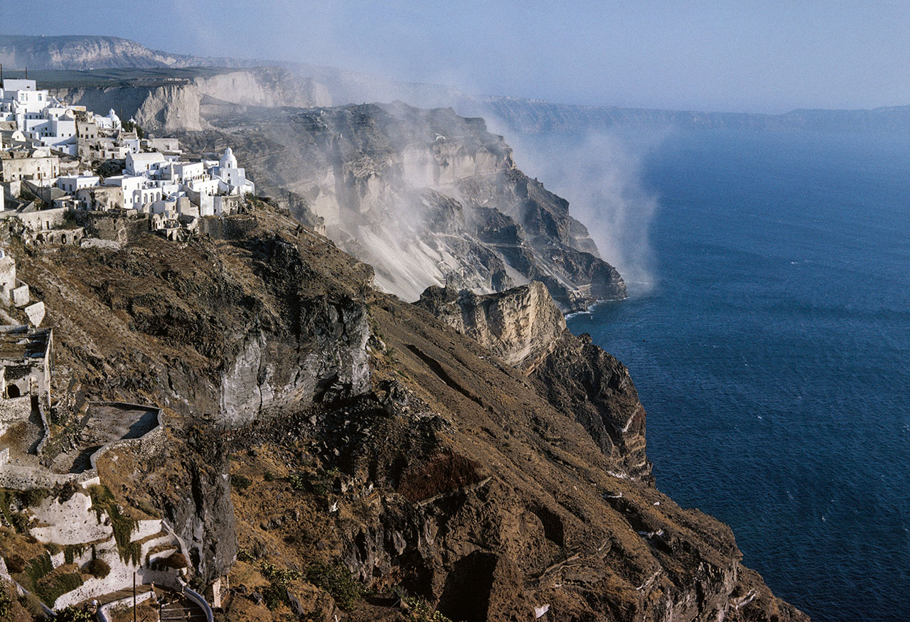 Santorini. Dust from the pumice quarries. Photo © Robert McCabe.