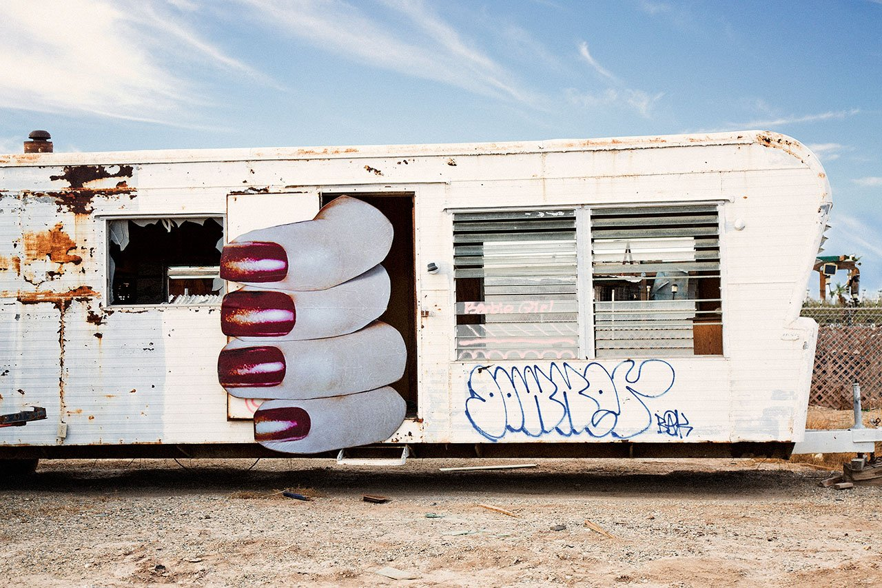 "Marco Walker, Trailer (Bombay Beach Estates), 2018. 47"" w x 31.3"". Edition of 5 and 2 Artist Proof."