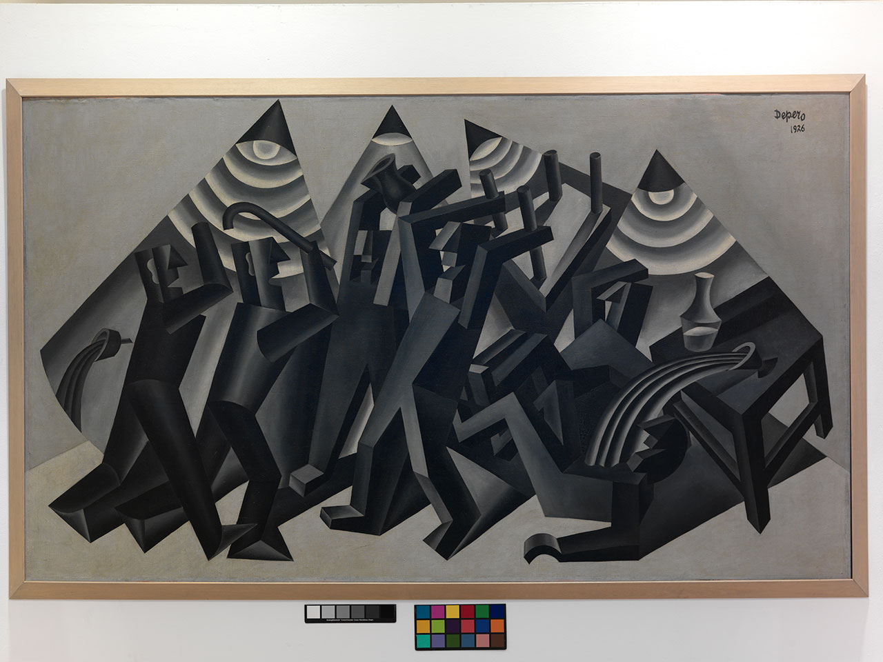 Fortunato Depero, La rissa, 1926. Oil on canvas, 149 x 255 cm MART, Museum of modern and contemporary art of Trento and Rovereto, Fondo Depero MART - Photographic archive and Media Library © Fortunato Depero by SIAE 2018.