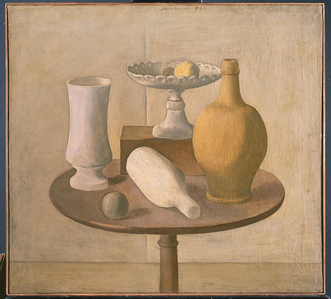 Giorgio Morandi, Natura morta, 1920, oil on canvas 60,5 x 66,5 cm. Pinacoteca di Brera, Milano Copyright: MiBACT - Pinacoteca di Brera, Photo archive © Giorgio Morandi by SIAE 2018.