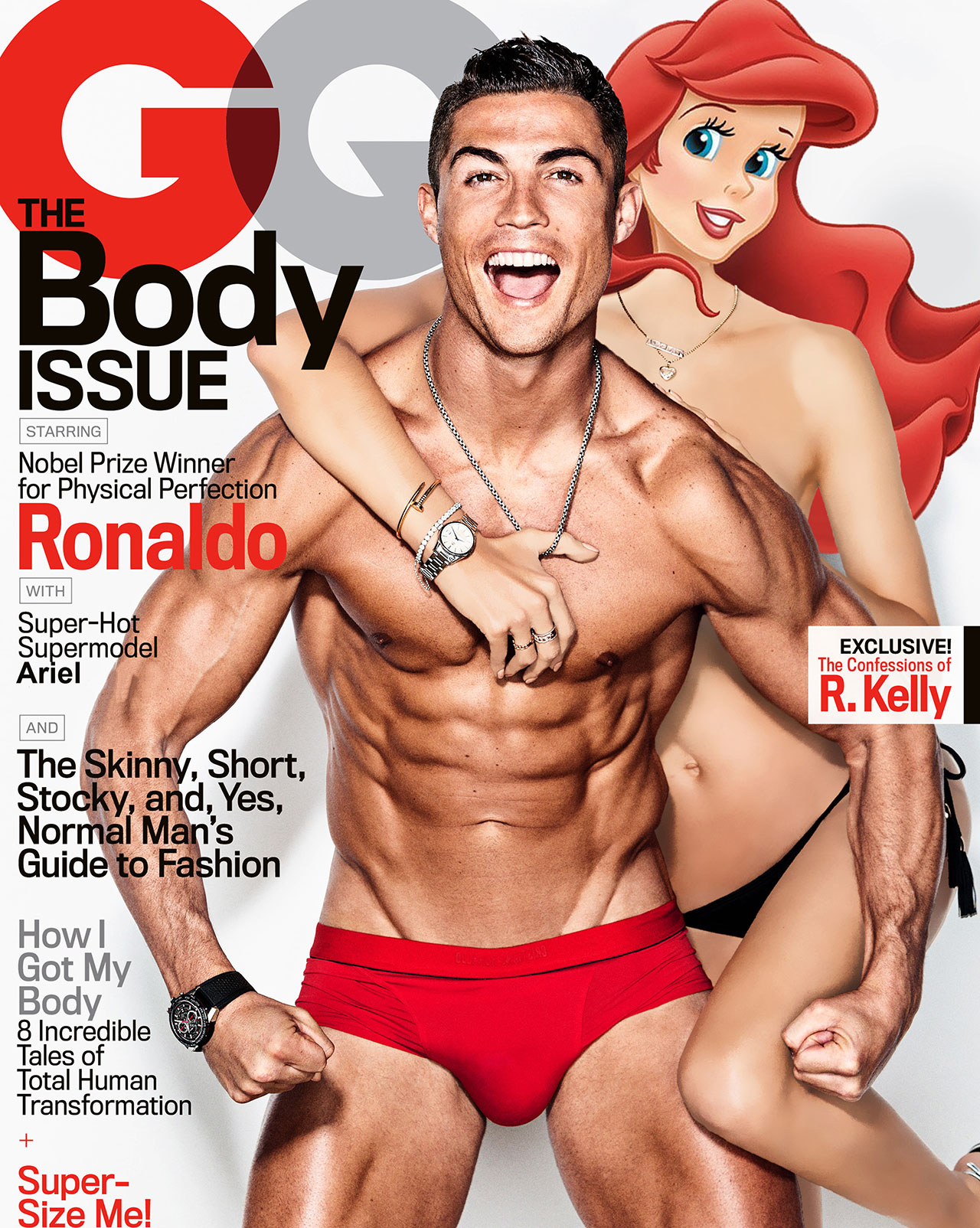 Introducing GQ's Body Issue featuring Cristiano Ronaldo and Alessandra Ambrosio as Ariel. Photographed by Ben Watts, photo edit by Gregory Masouras.