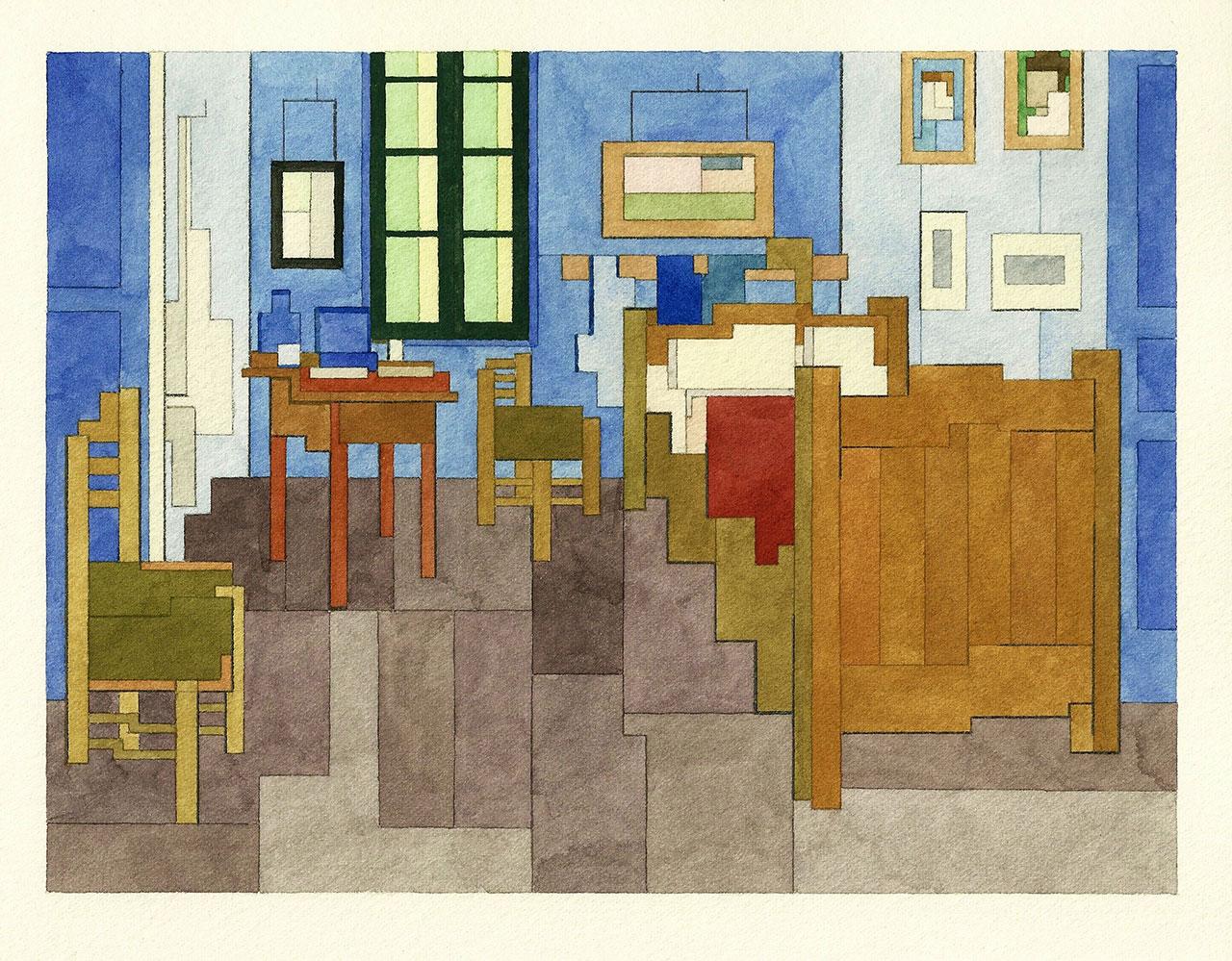 Bedroom in Arles, Art History 101 series by Adam Lister.(Original Painting by Vincent van Gogh, 1888).