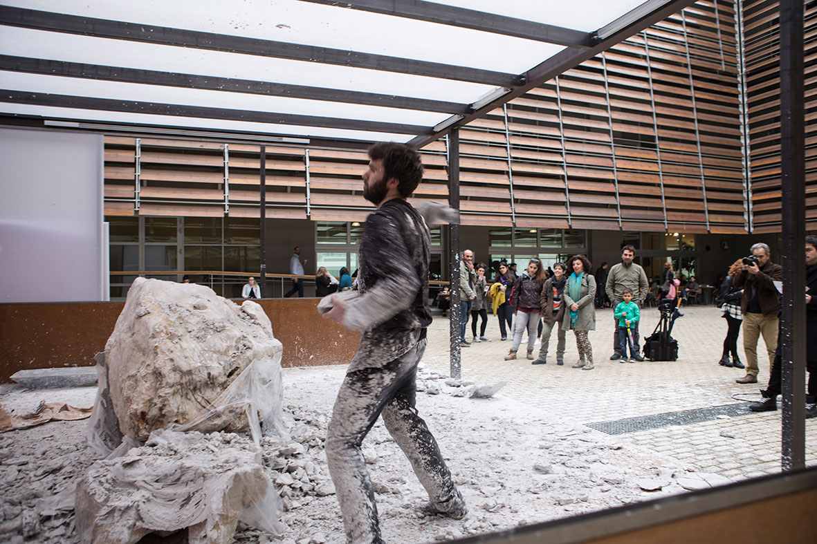 "Visual artist Thodoris Trambas performing ""Pangaea"", his six-week-long performance at the courtyard of the Benaki Museum. Part of AS ONE, 2016. Photo © Natalia Tsoukalas."