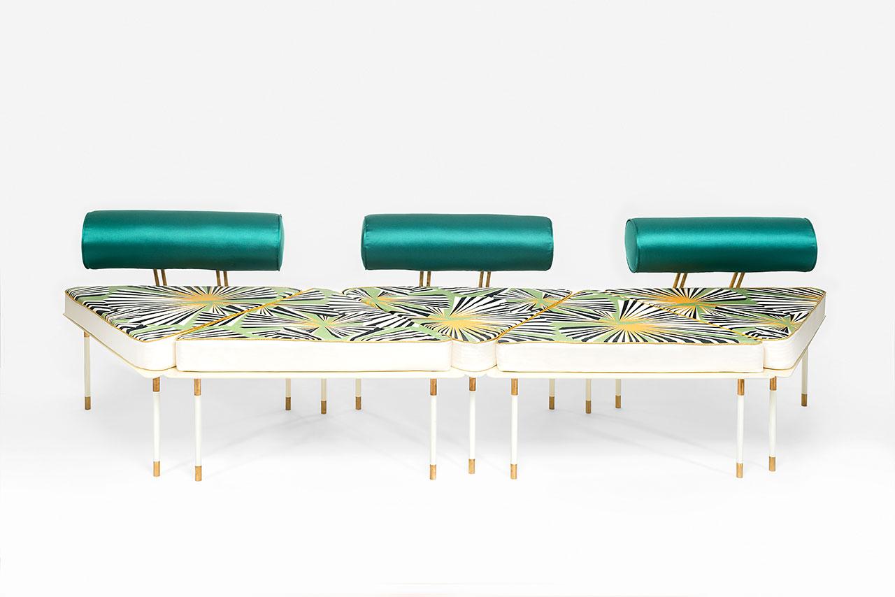 Derek Castiglioni, Aquiloni Collection,Sofa. With Seatback: 96 x 90 x 70 cm. Without Seatback: 96 x 84 x 40 cm.