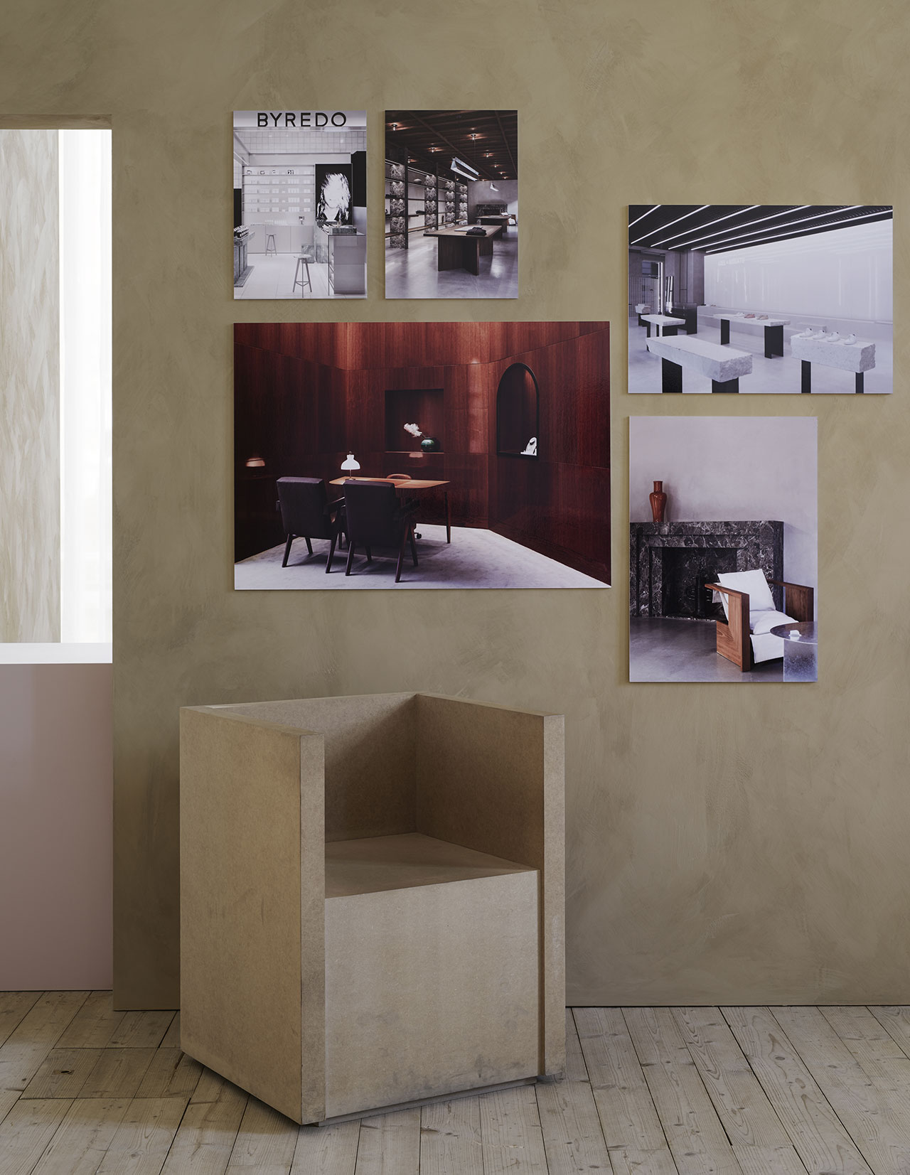 Christian Halleröd, interior architect. Prototype of the armchair, Byredo. Photographs, from the left: Byredo at Åhléns, Stockholm, on the right Frame Denim, Melrose Place, Los Angeles. Photo: Brendan Austin. Bottom left, Engelbert, Birger Jarlsgatan Stockholm. Brendan Austin. Top right Axel Arigato, Broadwick Street, London. Photo: Mikael Olsson Nere. Bottom right Frame Denim, Melrose Place, Los Angeles. Photo: Michael Weber.  Photo by Kristofer Johnsson.