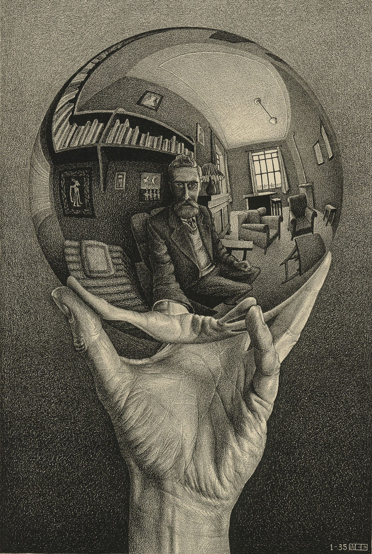 M. C. Escher, Hand with reflecting sphere (Self-portrait in spherical mirror), January 1935, lithograph.Escher Collection, Gemeentemuseum Den Haag, The Hague, the Netherlands © The M. C. Escher Company, the Netherlands. All rights reserved.