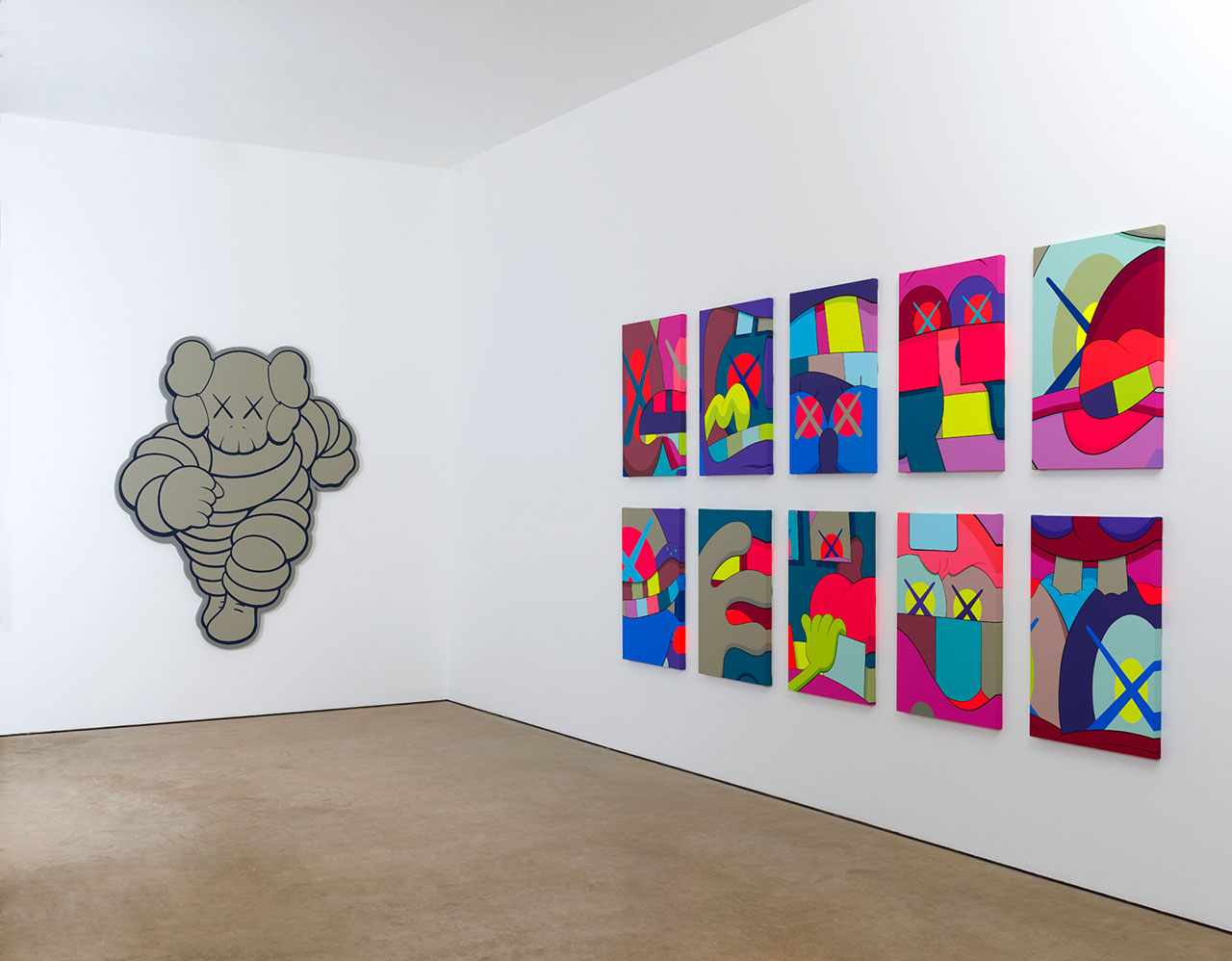CHUM (left), 2012. Courtesy the artist and YSP Acrylic on canvas over panel. H213cm x W173cm x D4.5cm. UPS AND DOWNS (right), 2012. Courtesy the artist and YSP Acrylic on canvas 10 parts, each part: H88.9cm x W58.4cm. Photos © Jonty Wilde.