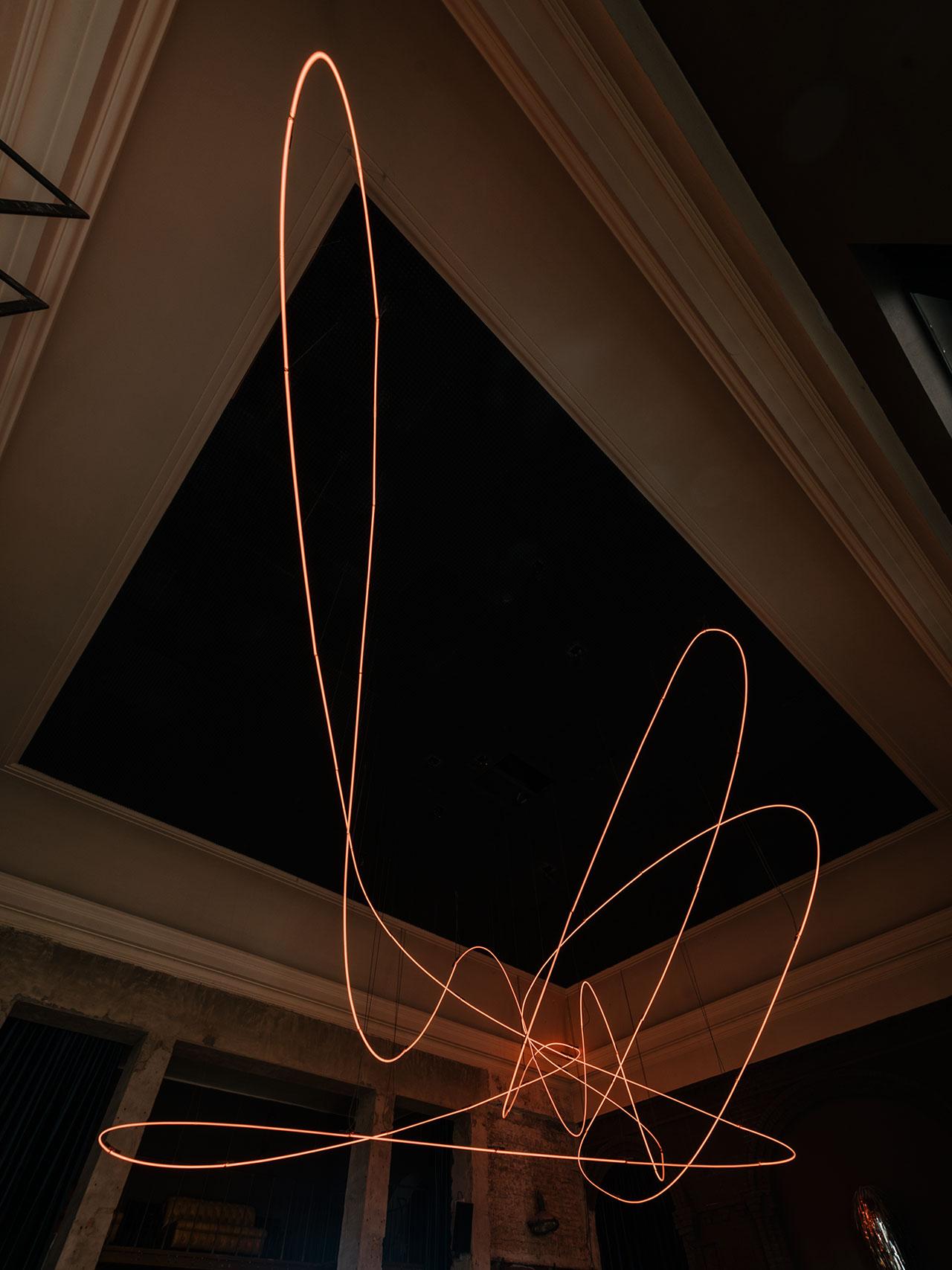 KINK Bar & Restaurant. Light installation byKerimSeiler. Photography by Robert Rieger. Courtesy of Kerim Seiler.