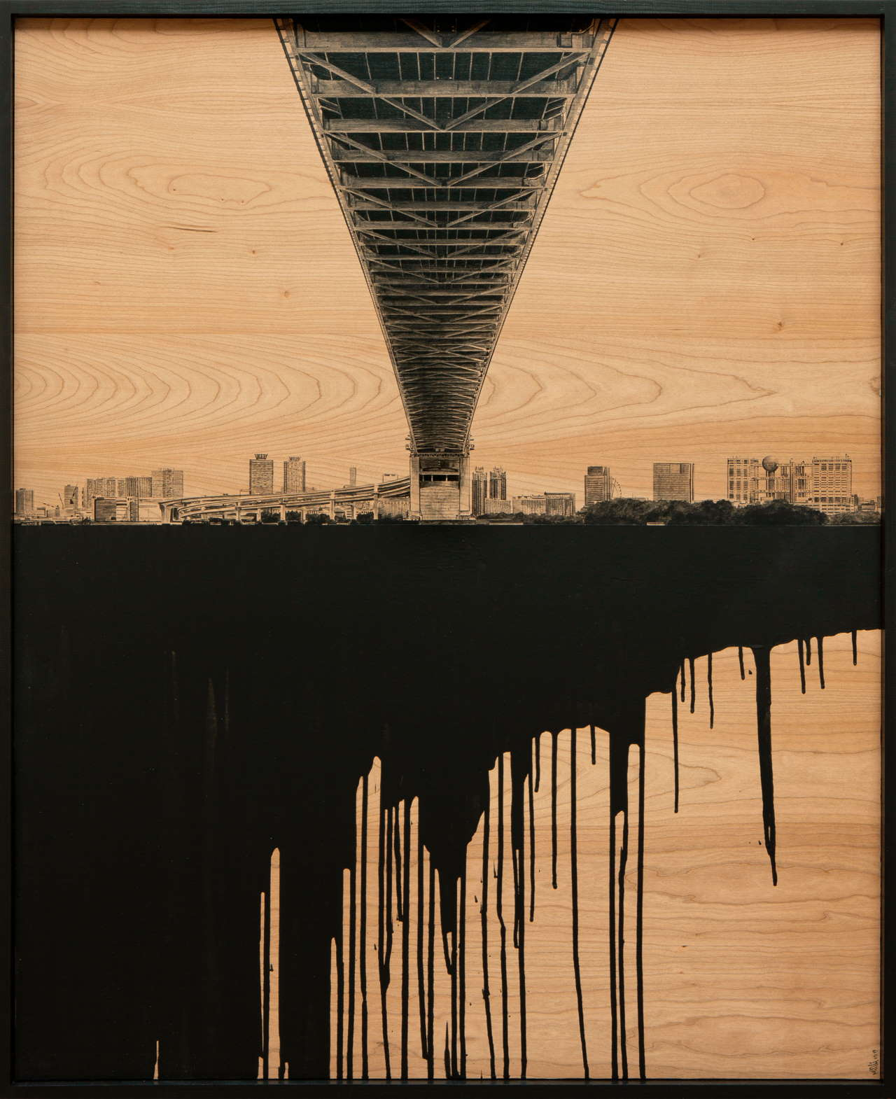 Laurent Minguet, Dark side of Tokyo, 2019. Acrylic on cherrywood panel, 98 x 120 cm. © Laurent Minguet.