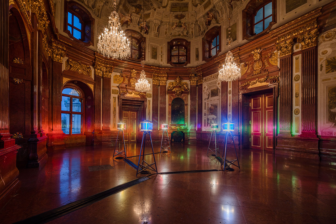 Olafur EliassonFive orientation lights, 1999Stainless steel, coloured glass, halogen bulbs and fresnel lenseseach 200 x 70 x 70 cm The Winter Palace of Prince Eugene of Savoy, Vienna 2015 Photo by Anders Sune BergCourtesy of The Juan & Patricia Vergez Collection, Buenos Aires © Olafur Eliasson.