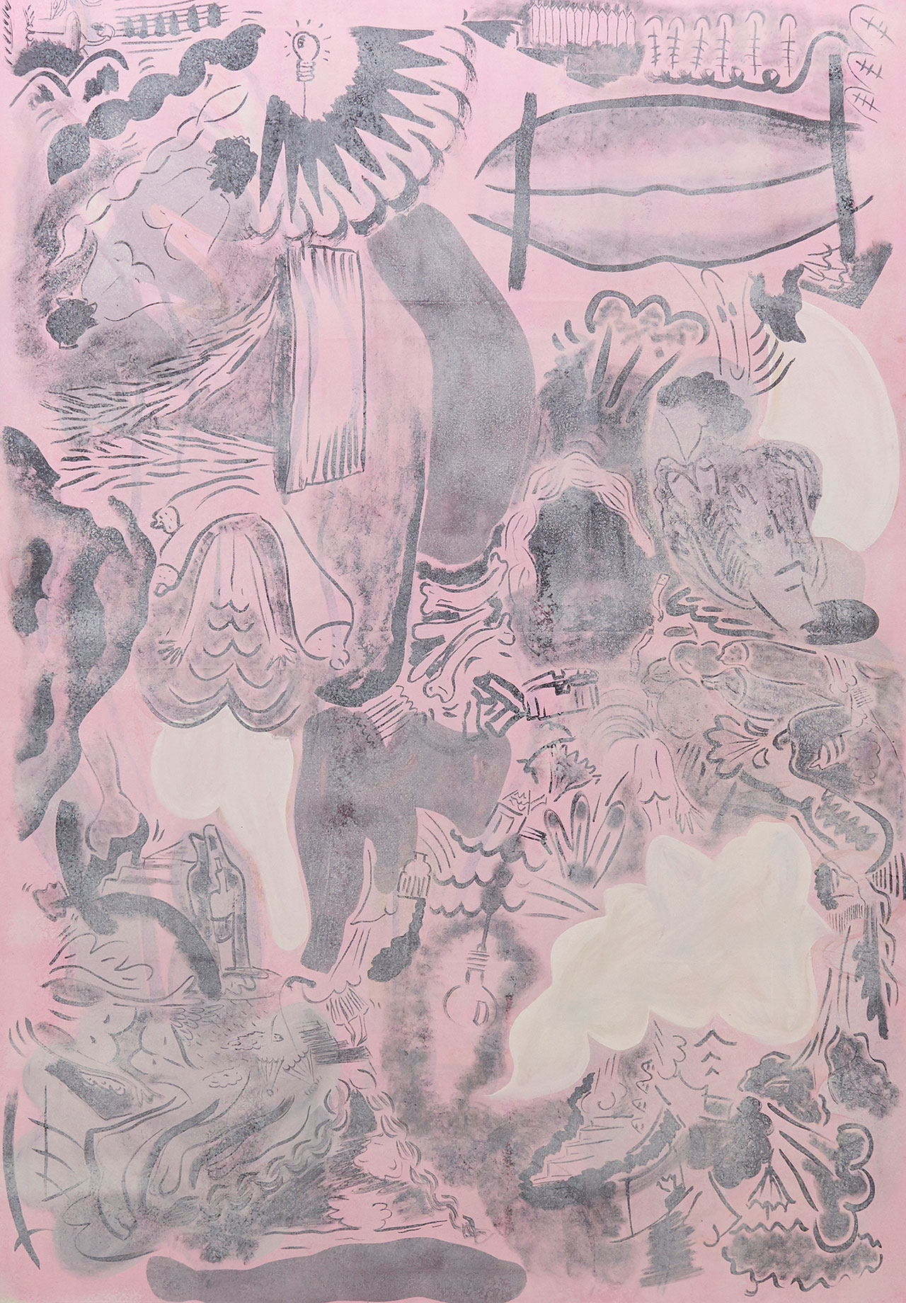 Sofia Stevi, About Everything, 2016. Ink, acrylic, gouache on cotton, 200x140 cm. Courtesy The Breeder.