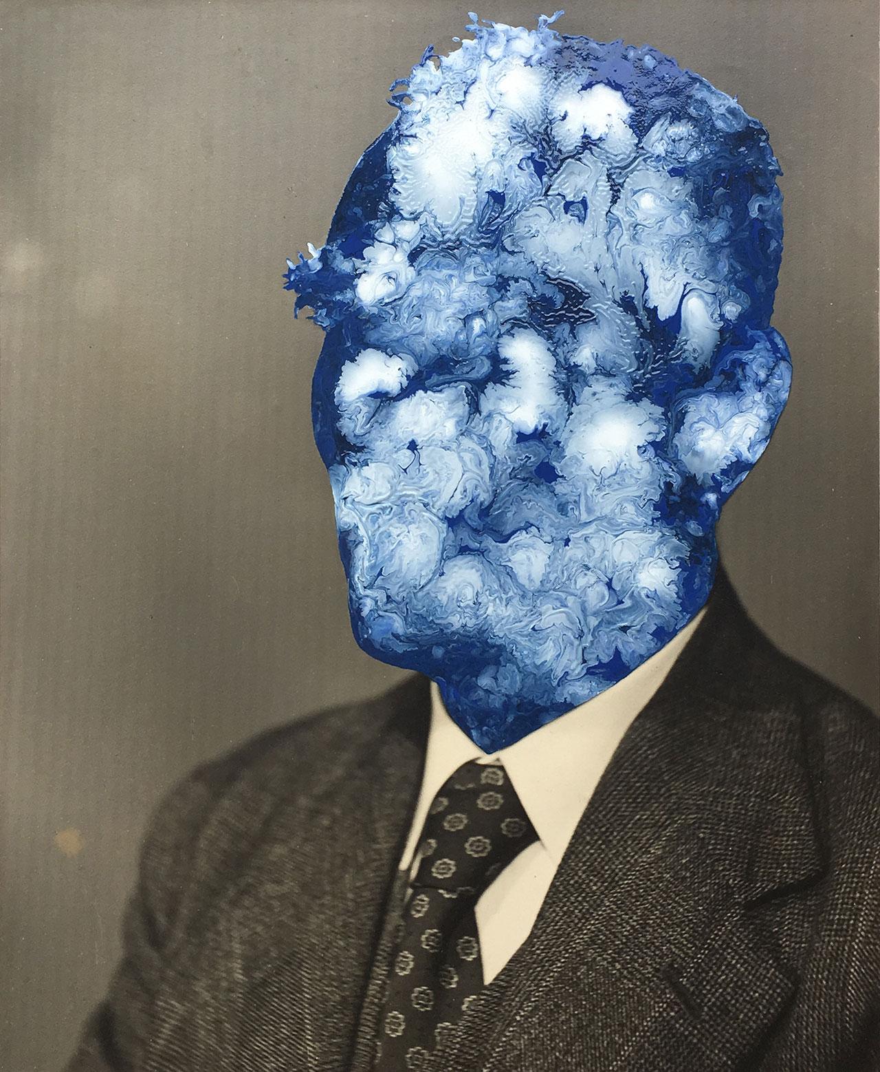JulieCockburn,Blue Face(Man),2019. Enamel on foundphotograph.©Julie Cockburn, courtesy of Flowers Gallery.