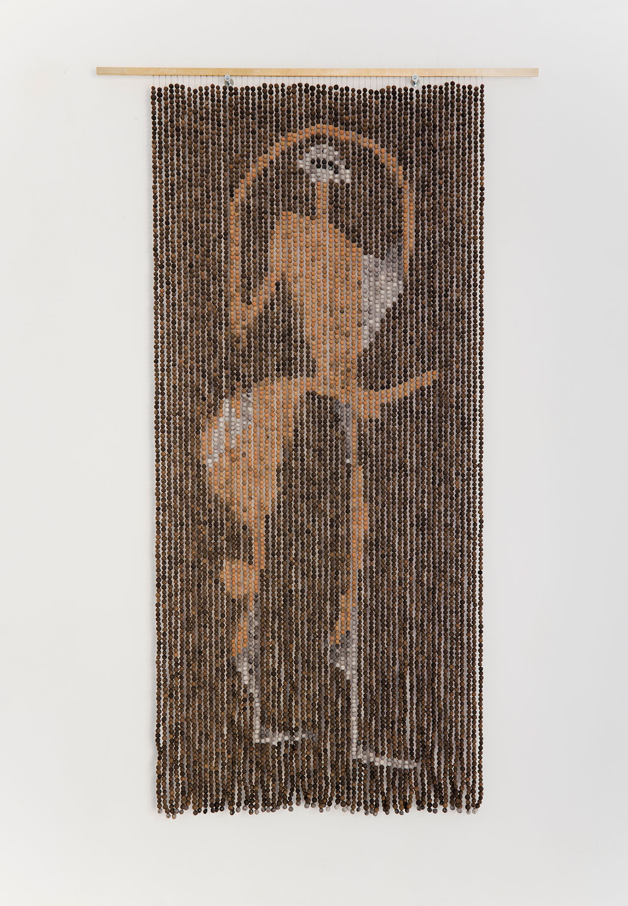 Zoë Paul, The Taste of a Cosmopolitan Shepherd with an Excellent Long Term Memory, 2014. Semi-fired ceramic bead curtain, 78 3/8 x 47 1/4 in (200 x 120 cm). Courtesy The Breeder, Athens. Photo © Giovanni Savi.